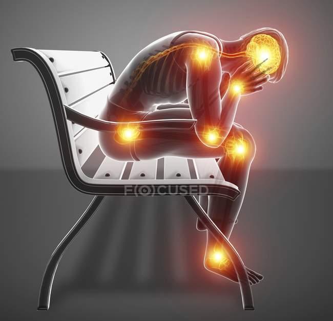 Sentado na silhueta masculina de banco com dores nas articulações e dor de cabeça, ilustração digital. — Fotografia de Stock