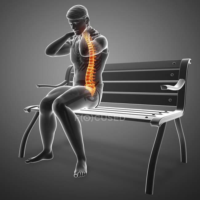 Assis sur banc silhouette masculine avec mal de dos, illustration numérique . — Photo de stock
