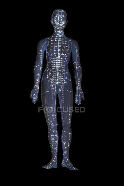 Acupuncture model with acupoints against black background. — Stock Photo