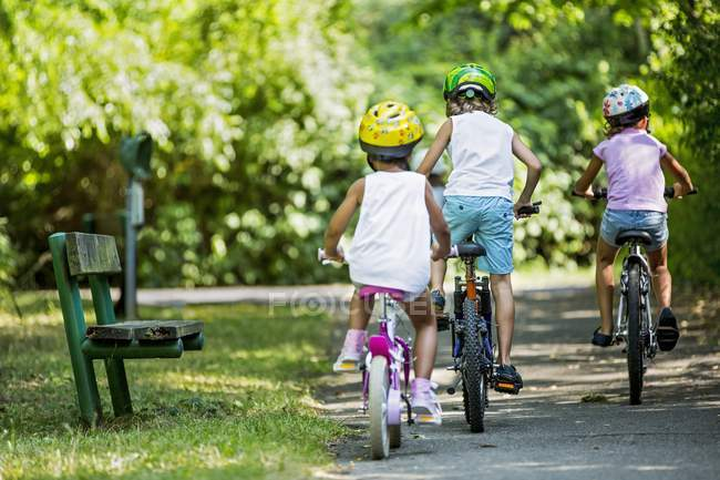 Rear view of children wearing helmets and cycling in summer park. — Stock Photo