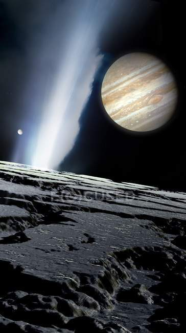 Jupiter seen from Europa Galilean moon in space, illustration. — Stock Photo