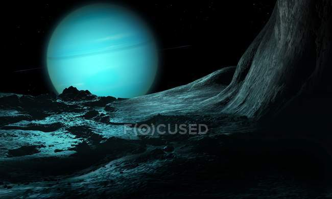 Illustration of green ice giant planet Uranus seen from surface of innermost substantial moon fractured Miranda. — Stock Photo