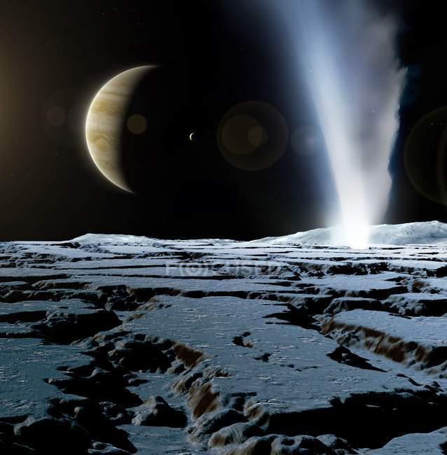 Geyser on Europa Galilean moon of Jupiter in space, illustration. — Stock Photo