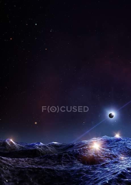 Иллюстрация экстрасолнечная планета, обращающаяся вокруг миллисекунды Пульсар Psr J1719-1438 — стоковое фото