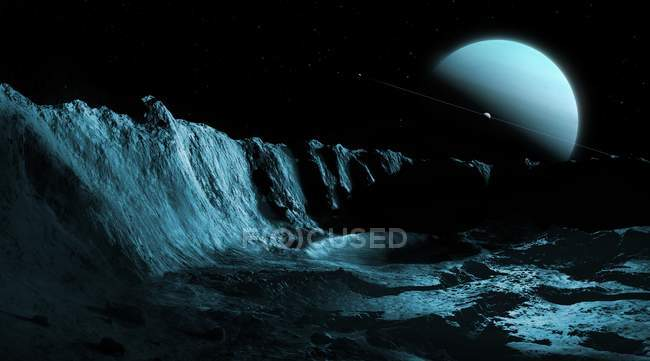 Ilustración del planeta gigante de hielo verde Urano visto desde la superficie de la luna substancial más interna Ariel . - foto de stock