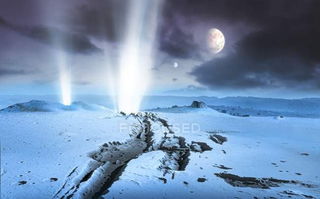 Illustration of landscape of icy extrasolar planet with cryonic geysers and two moons. — Stock Photo