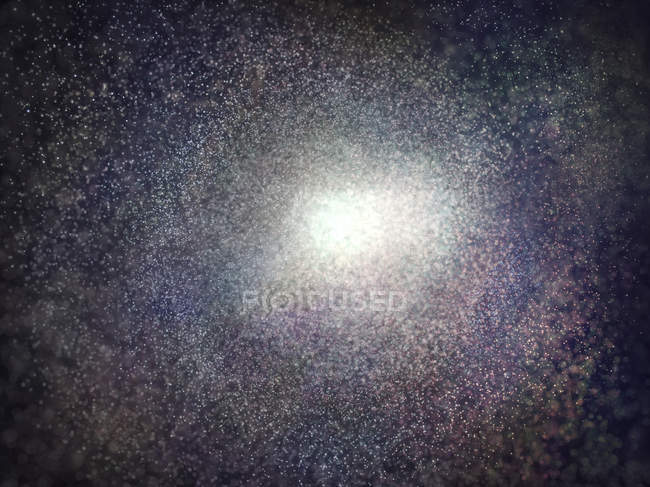 Starry galaxy with bright star in middle, digital illustration. — Stock Photo
