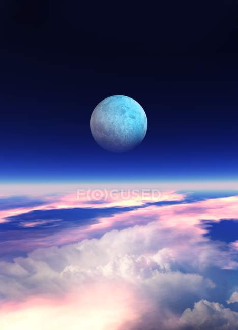 Planet und Wolken im All, digitale Illustration. — Stockfoto