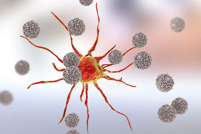 Digitales Kunstwerk von T-Lymphozyten-Zellen, die rote Krebszellen angreifen. — Stockfoto