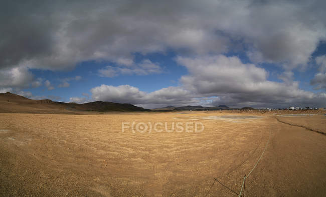 Geothermal field under dramatic clouds in Hverir, Iceland. — Stock Photo