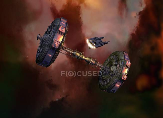 Vehículos espaciales en cielo nublado, ilustración . - foto de stock