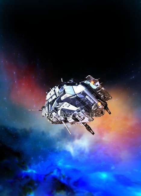 Raumschiff fliegt in den Weltraum, digitale Illustration. — Stockfoto