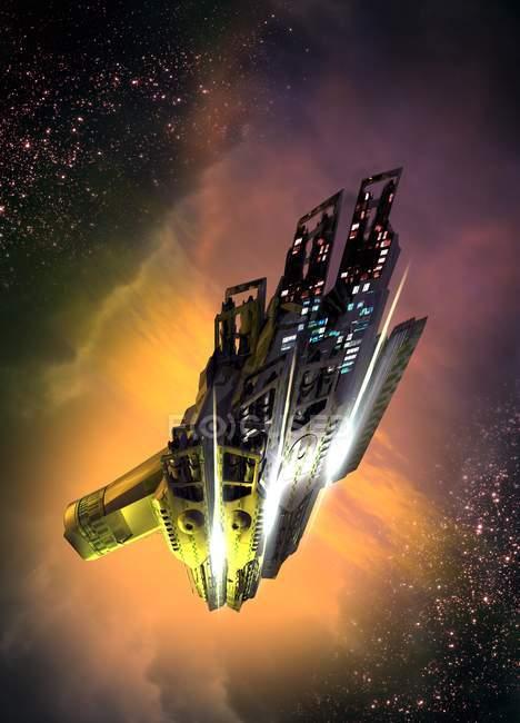 Космічних апаратів політ в космічному просторі, цифрова ілюстрація. — стокове фото
