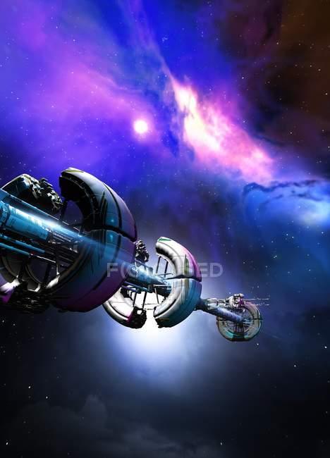 Satellite vehicle in deep space, digital illustration. — Stock Photo