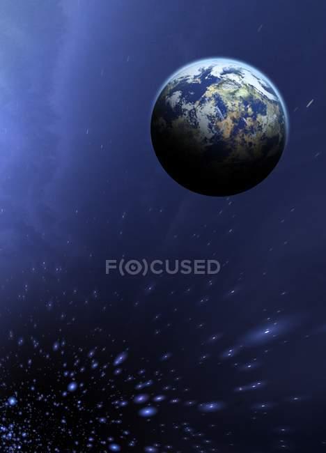 Планета Земля в пространстве, в окружении звезд с тропы, цифровой иллюстрации. — стоковое фото