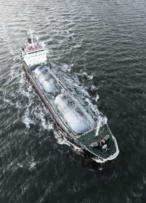 Tanker ship in water, high angle illustration. — Stock Photo