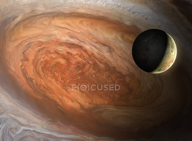 Illustration of Jovian moon Io seen against backdrop of Jupiter Great Red Spot. — Stock Photo