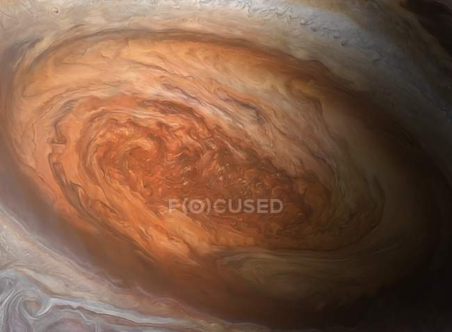 Illustration of Jupiter Great Red Spot vast cyclonic storm. — Stock Photo