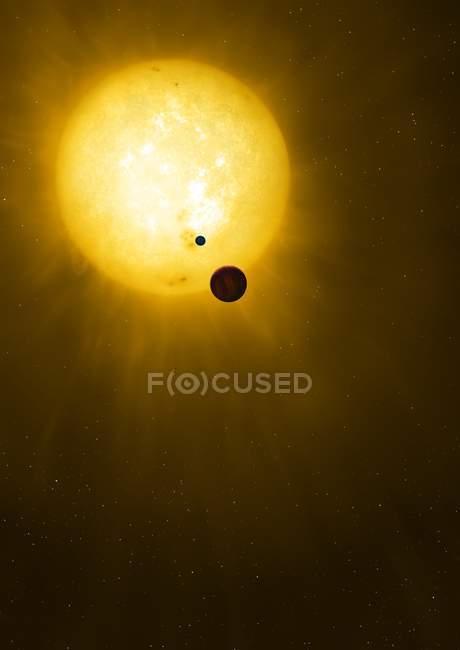 Illustration of planet Kepler 1625b and proposed exomoon in Cygnus and big star Kepler 1625. — Stock Photo