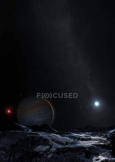 Ilustración del sistema triple estrella HD131399 en el espacio . - foto de stock