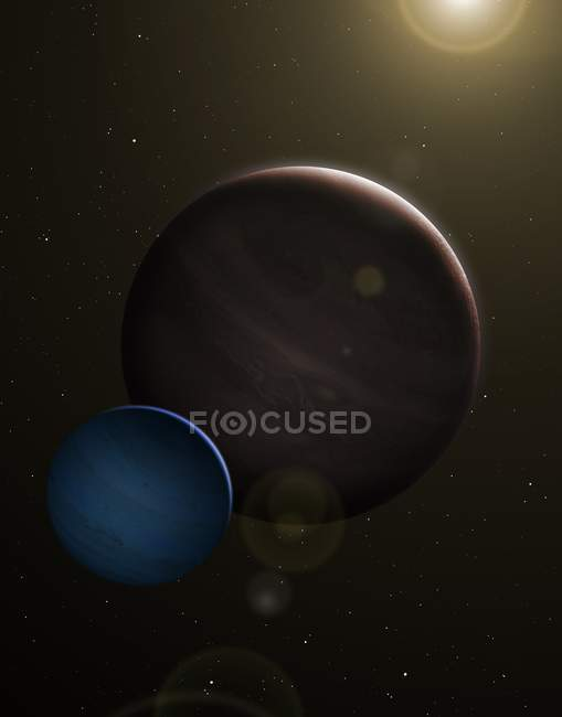 Illustration of planet Kepler 1625b and proposed exomoon in Cygnus. — Stock Photo
