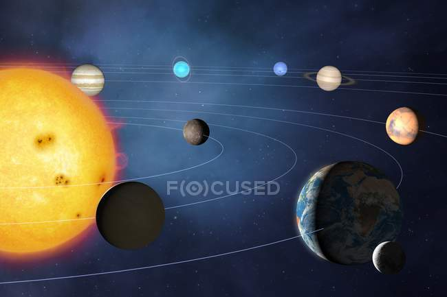 Illustration of solar system showing path of planets as orbiting Sun. — Stock Photo