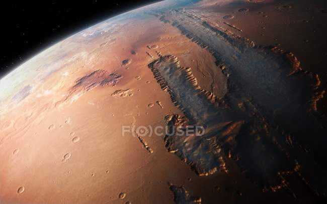 Illustration of oblique view of giant Valles Marineris canyon system on Mars. — Stock Photo