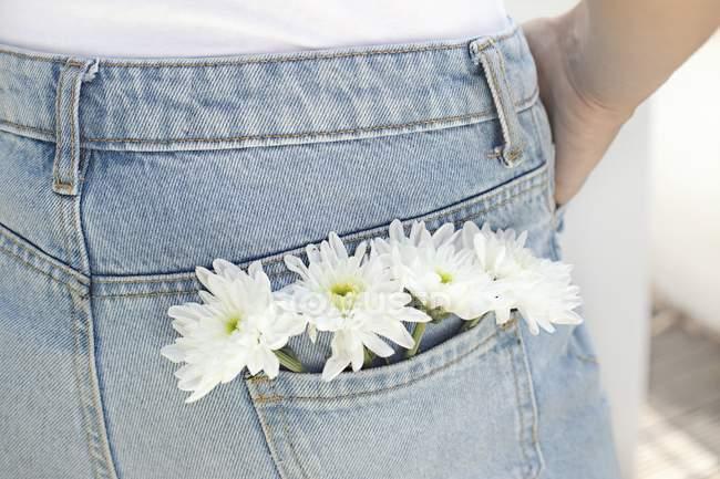 Vue recadrée de femme avec des fleurs blanches dans la poche arrière de jeans. — Photo de stock