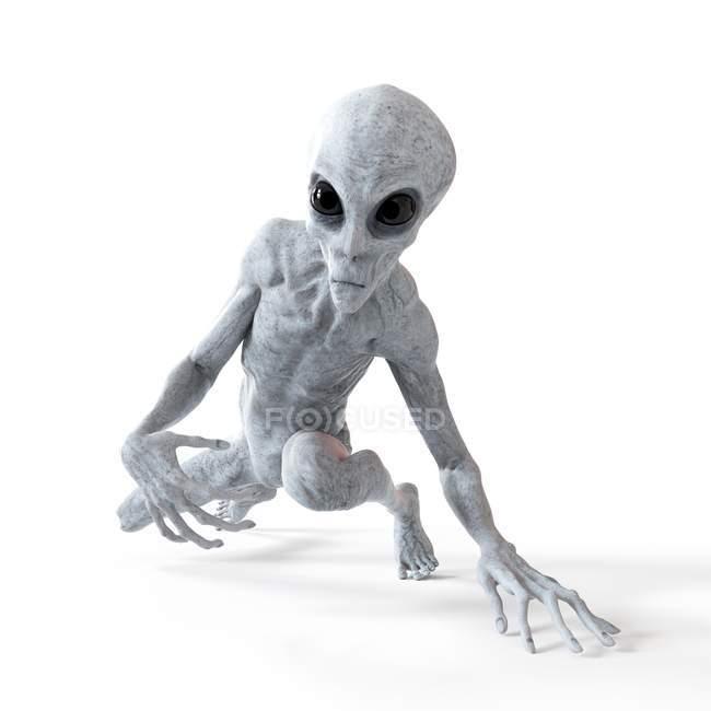 Illustration of gray humanoid alien sneaking on white background. — Stock Photo