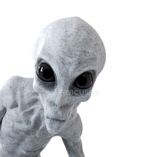 Illustration of gray humanoid alien on white background, close-up. — Stock Photo