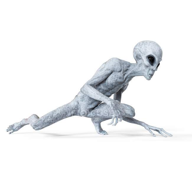 Illustration of gray humanoid alien sneaking on white background. — Stock Photo