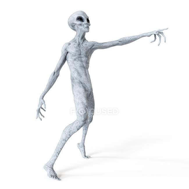 Illustration of gray humanoid alien pointing on white background. — Stock Photo