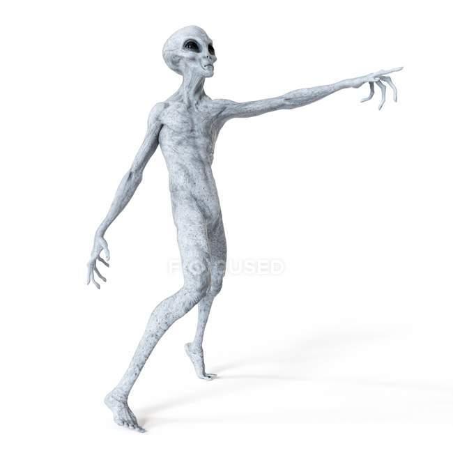 Illustration of gray humanoid alien pointing on white background. — Stock Photo