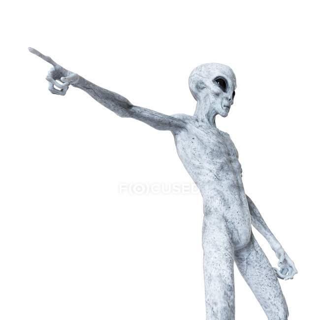 Illustration eines grauen humanoiden Aliens auf weißem Hintergrund. — Stockfoto
