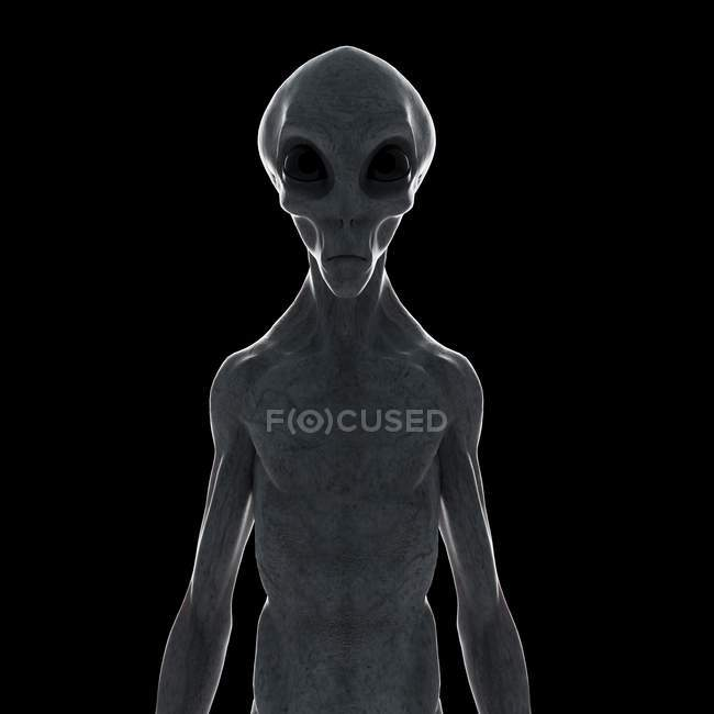 Illustration of gray humanoid alien on black background. — Stock Photo