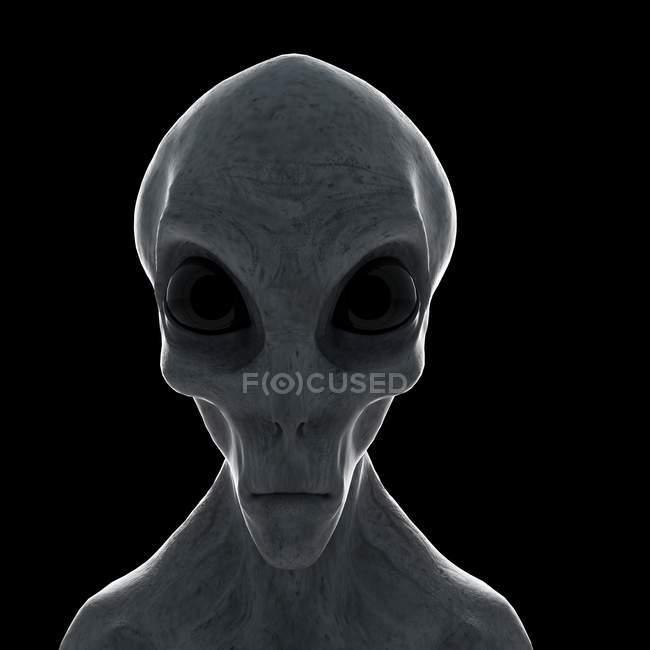 Illustration of gray humanoid alien on black background, close-up. — Stock Photo