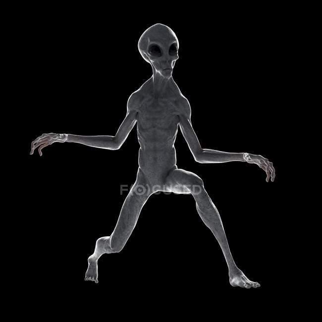 Illustration of gray humanoid alien on black background. — Stock Photo