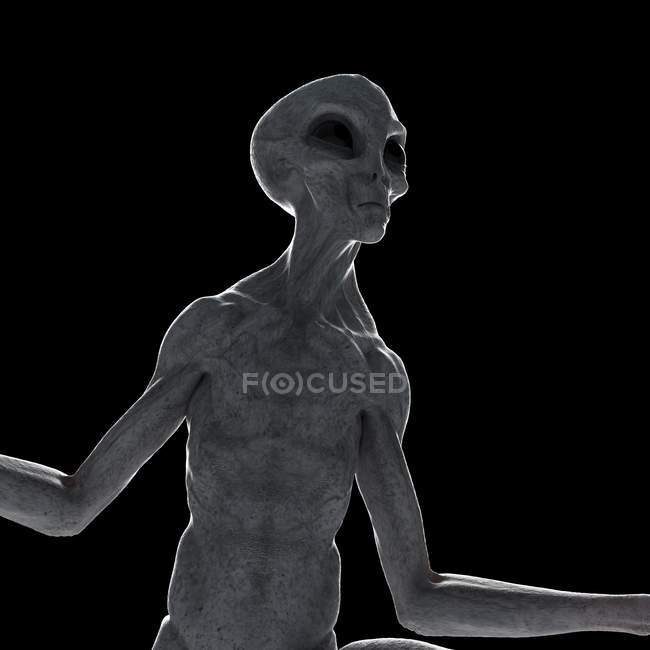 Illustration of gray humanoid alien on black background, close-up. — Stock Photo
