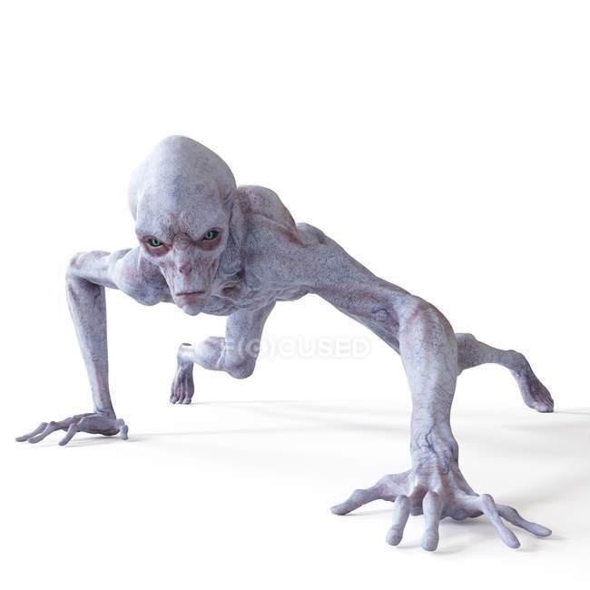 Illustration of realistic humanoid alien sneaking on white background. — Stock Photo