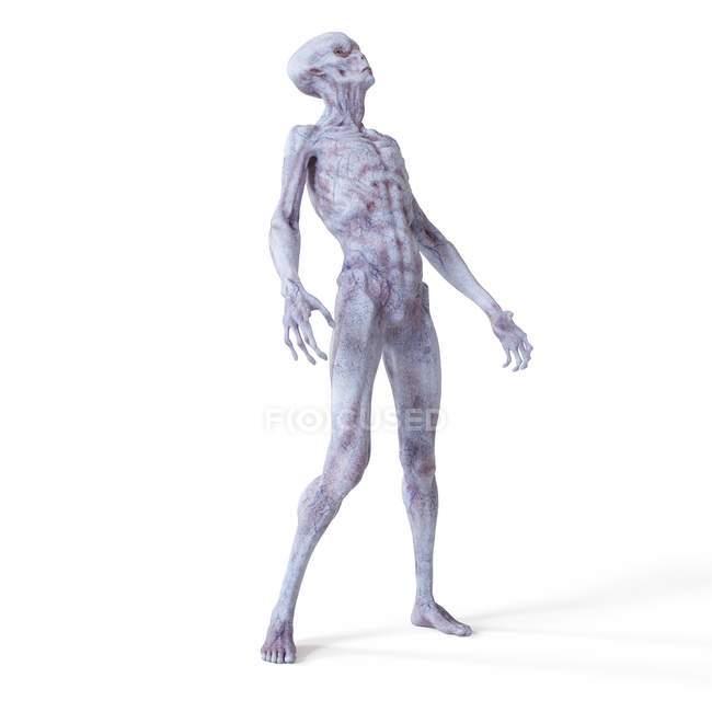 Illustration of realistic humanoid alien on white background. — Stock Photo