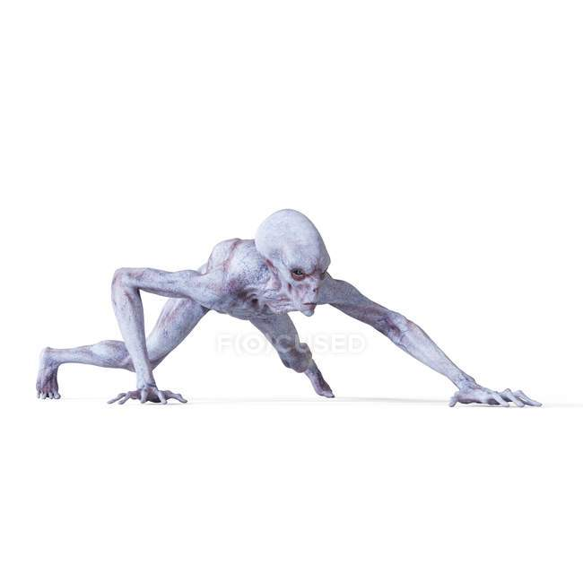 Illustration of realistic humanoid alien sneaking on white background. — Stock Photo
