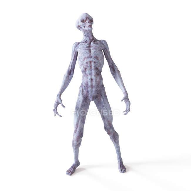 Illustration of realistic humanoid alien on white background. — Stock Photo