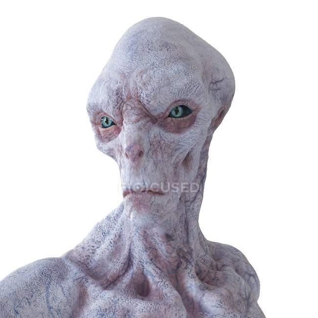 Illustration of realistic humanoid alien on white background, close-up. — Stock Photo
