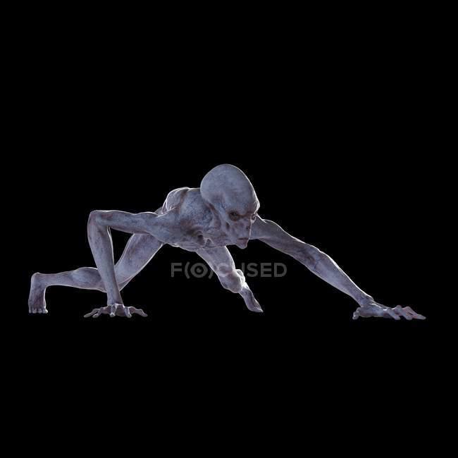Illustration of realistic humanoid alien sneaking on black background. — Stock Photo