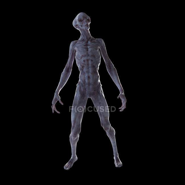 Illustration of realistic humanoid alien on black background. — Stock Photo