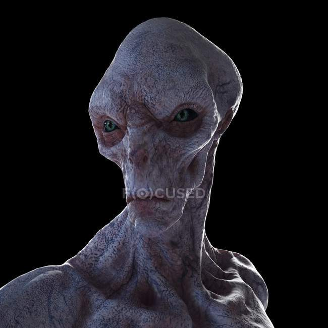 Illustration of realistic humanoid alien on black background, close-up. — Stock Photo