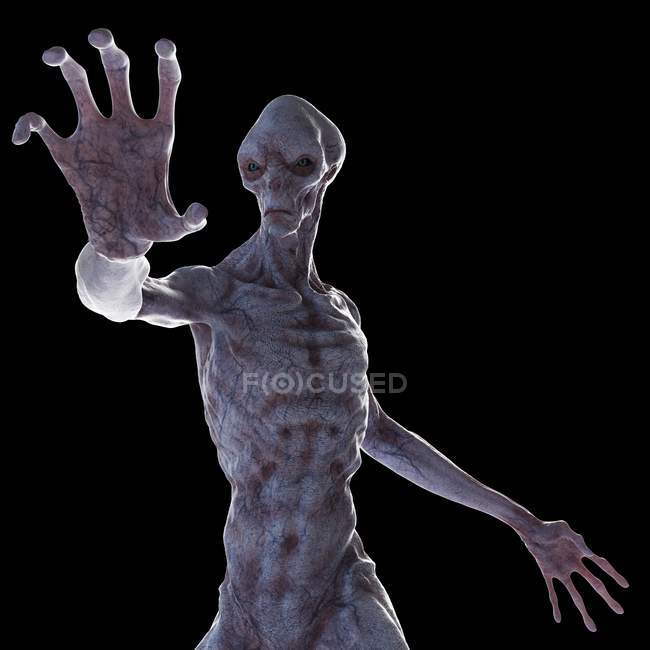 Illustration of realistic humanoid alien on black background. — Stock Photo