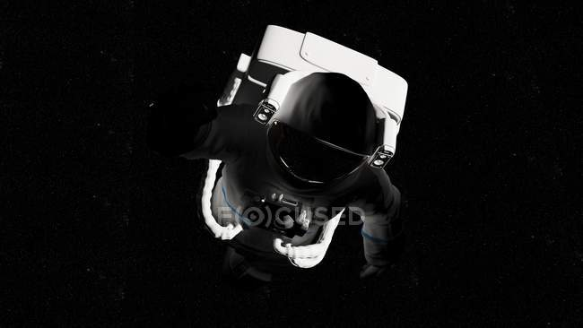 Illustration of astronaut in white spacesuit flying in shadow in space. — Stock Photo