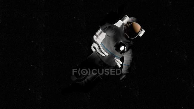 Illustration de l'astronaute en combinaison spatiale blanche volant dans l'ombre dans l'espace . — Photo de stock