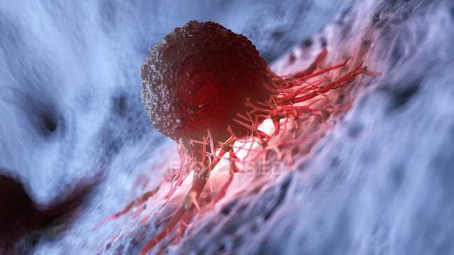 Obra de arte digital de la célula roja iluminada del cáncer humano . - foto de stock